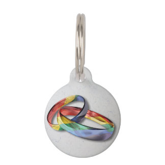 Rainbow Wedding Rings for Marriage Equality Pet Name Tag