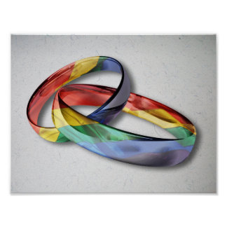 Rainbow Wedding Rings for Marriage Equality Posters