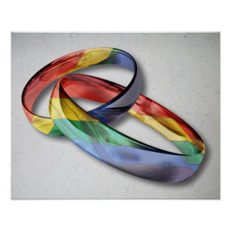 Rainbow Wedding Rings for Marriage Equality Print