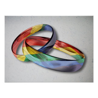 Rainbow Wedding Rings for Marriage Equality Poster