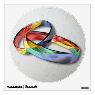 Rainbow Wedding Rings for Marriage Equality Wall Skins
