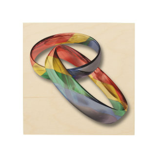 Rainbow Wedding Rings for Marriage Equality Wood Wall Decor
