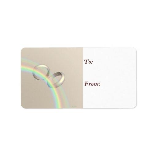 Rainbow Wedding Rings Gift Tag Label