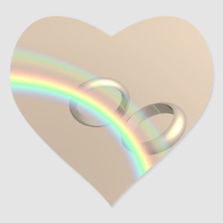 Rainbow Wedding Rings Heart Sticker