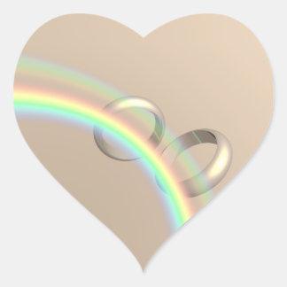 Rainbow Wedding Rings Heart Sticker
