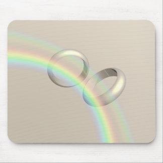 Rainbow Wedding Rings Mouse Pad