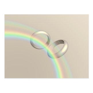 Rainbow Wedding Rings Postcard