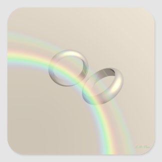 Rainbow Wedding Rings Square Sticker