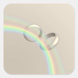 Rainbow Wedding Rings Square Sticker
