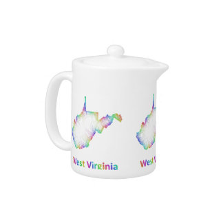 Rainbow West Virginia map Teapot