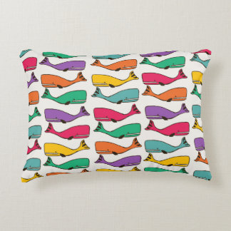 """🌈 🐋 Rainbow Whales Accent Pillow 16"""" x 12"""""""