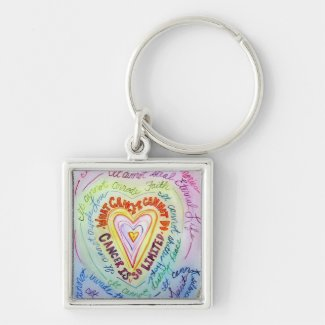 Rainbow What Cancer Cannot Do Heart Keychain