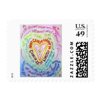 Rainbow What Cancer Cannot Do Heart Postage Stamp