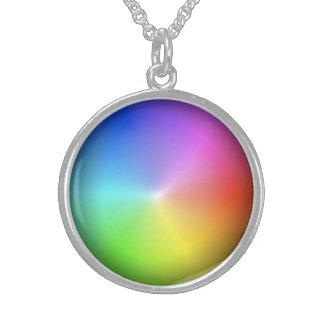 Rainbow Wheel Round Pendant Necklace