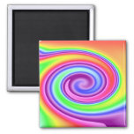 Rainbow Whirl 2 Inch Square Magnet