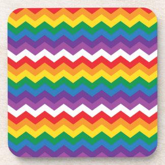 Rainbow White Chevron Zigzag Drink Coaster
