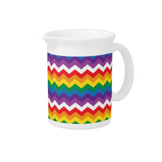 Rainbow White Chevron Zigzag Drink Pitchers