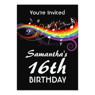 Rainbow White Music Notes 16th Birthday Party Card