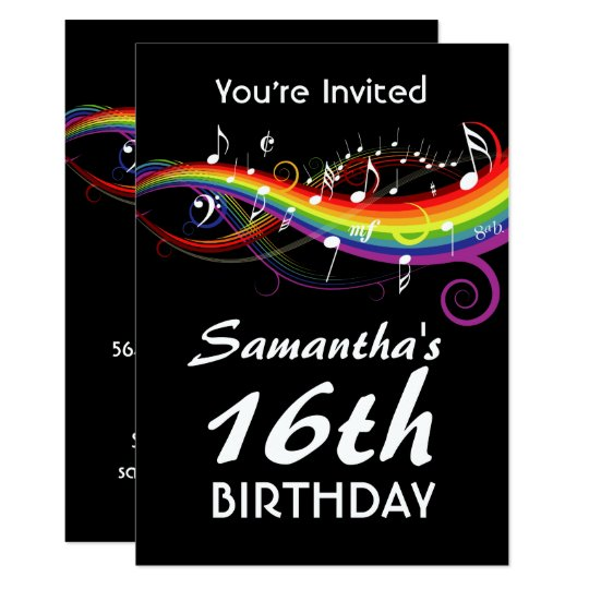 Rainbow White Music Notes 16th Birthday Party Invitation