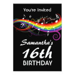 Rainbow White Music Notes 16th Birthday Party Personalized Invitations