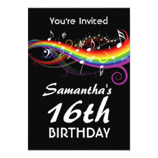 Rainbow White Music Notes 16th Birthday Party 5x7 Paper Invitation Card
