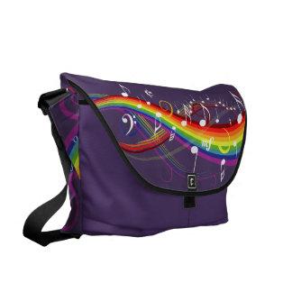 Rainbow White Music Notes Amethyst  Messenger Bag