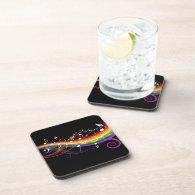 Rainbow White Music Notes Beverage Coasters