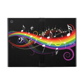 Rainbow White Music Notes iPad Mini Cover