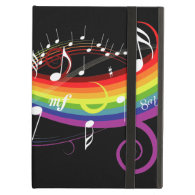 Rainbow White Music Notes iPad Covers
