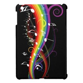 Rainbow White Music Notes iPad Mini Cases