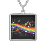 Rainbow White Music Notes Necklace