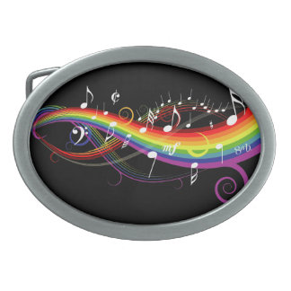 Rainbow White Music Notes on Black Belt Buckle