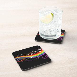 Rainbow White Music Notes on Black Beverage Coaster