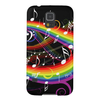 Rainbow White Music Notes on Black Case For Galaxy S5