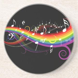 Rainbow White Music Notes on Black Beverage Coasters