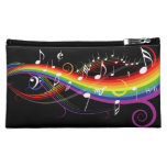Rainbow White Music Notes on Black Cosmetic Bags