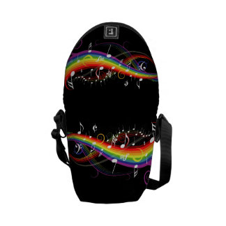Rainbow White Music Notes on Black Courier Bag