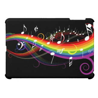 Rainbow White Music Notes on Black iPad Mini Covers