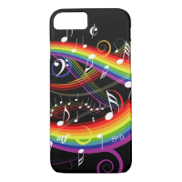 Rainbow White Music Notes on Black iPhone 7 Case
