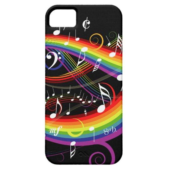Rainbow White Music Notes on Black iPhone SE/5/5s Case