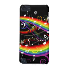 Rainbow White Music Notes On Black Ipod Touch 5g Cover at Zazzle