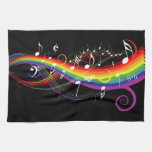Rainbow White Music Notes on Black Kitchen Towel
