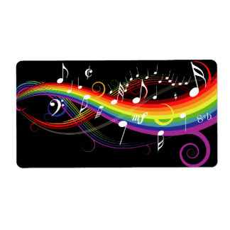 Rainbow White Music Notes on Black Shipping Label