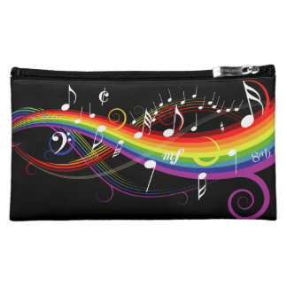 Rainbow White Music Notes on Black Makeup Bag