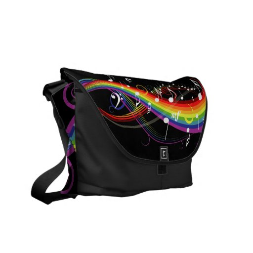 Rainbow White Music Notes on Black Messenger Bags