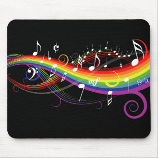 Rainbow White Music Notes on Black Mouse Pad