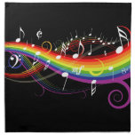 Rainbow White Music Notes on Black Napkin