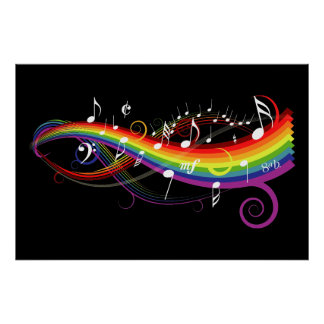 Rainbow White Music Notes on Black Poster