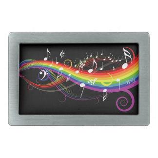 Rainbow White Music Notes on Black Rectangular Belt Buckle