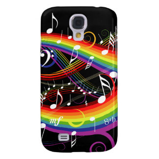 Rainbow White Music Notes on Black Samsung Galaxy S4 Case